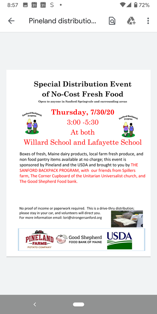 Special Distribution Event of No-Cost Fresh Food