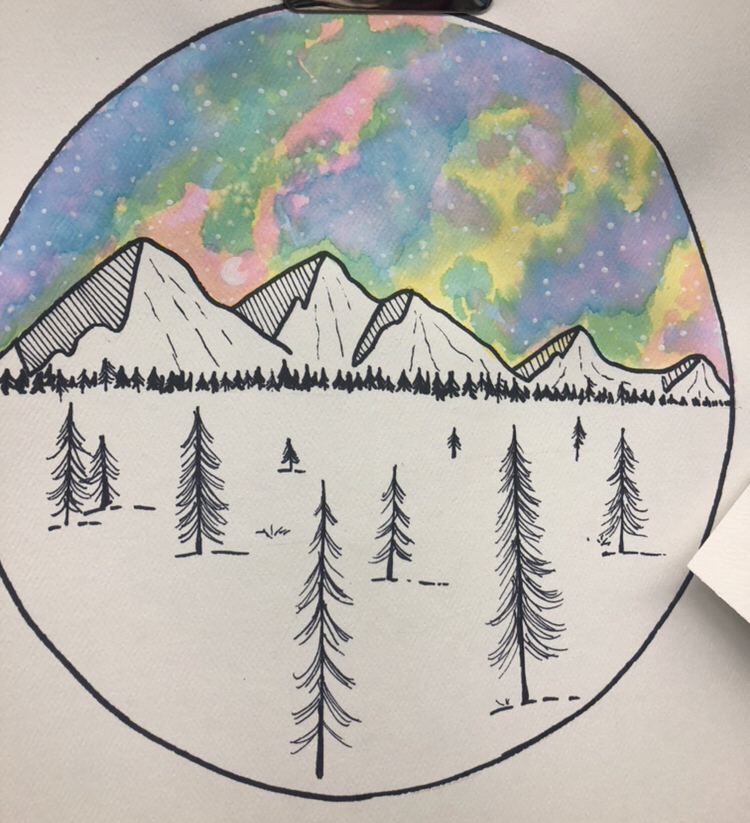 Ms Orchard 's Art students work on a water color piece by the artist, Jen Aranyi.  Students are using their color wheel knowledge to create beautiful landscapes.