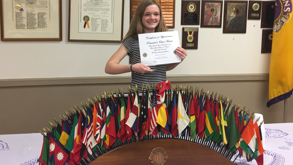 Olivia Martin Represents SHS at Regional Speak Out Contest
