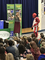 EcoMaine & Crusher, the Maine Red Claws' Mascot Teach CJL About Recycling