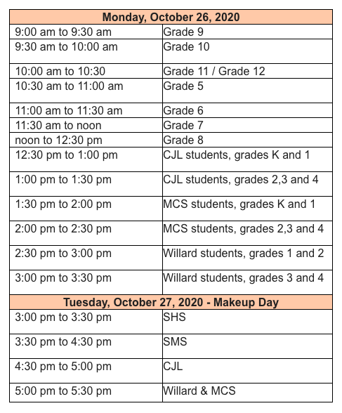 School Picture Schedule for CJL Remote Learners