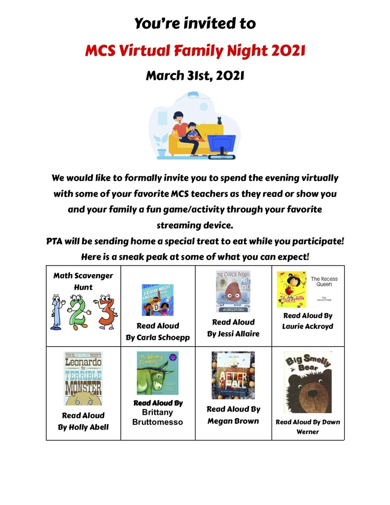 Flyer for MCS's Virtual Family Night