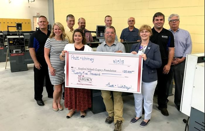 Pratt & Whitney donate $25,000 to Legacy Fund in Support of Precision Manufacturing