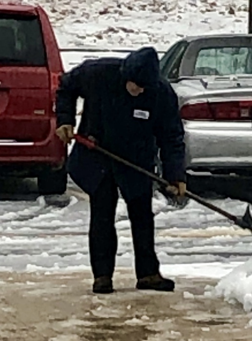 Mr. Mark Lessard, Custodian CJL Shoveling the Walkway