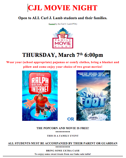 Movie Night at CJL: Thursday, March 7th at 6:00PM
