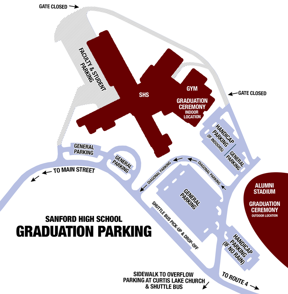 Graduation Parking for Sanford High School