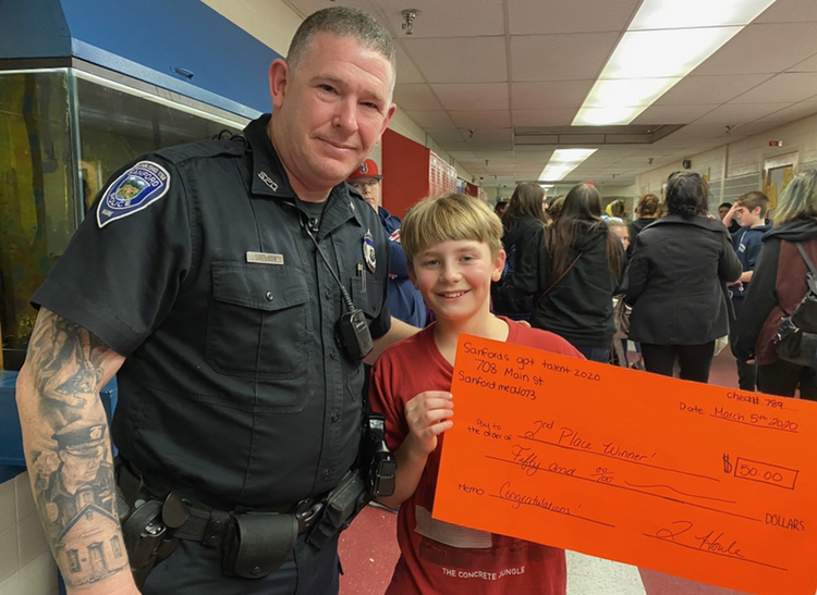 Officer Sheldon with Kaleb Hunt at SJHS Talent Show!