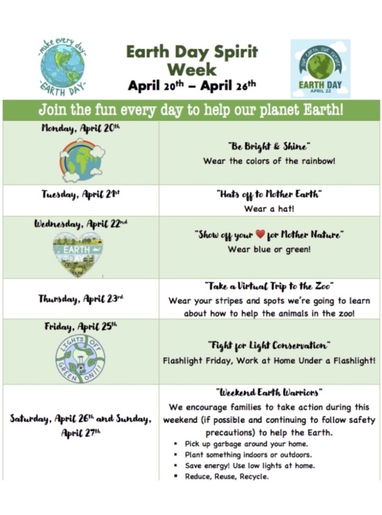 Earth Day Flyer for Spirit Week