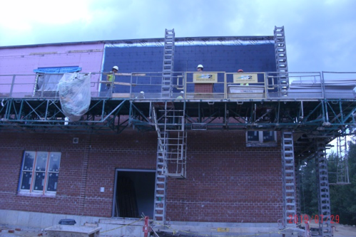Brick work being added to the addition.